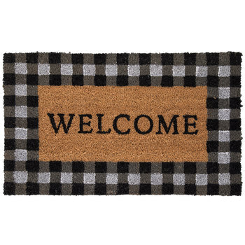 Welcome Buffalo Check Doormat