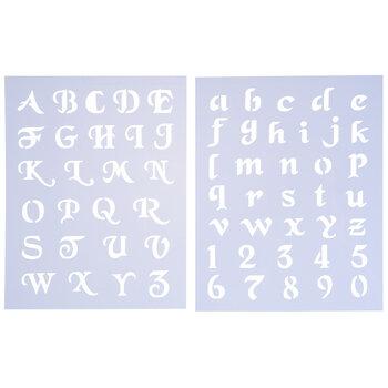 Simple Script Alphabet Stencils