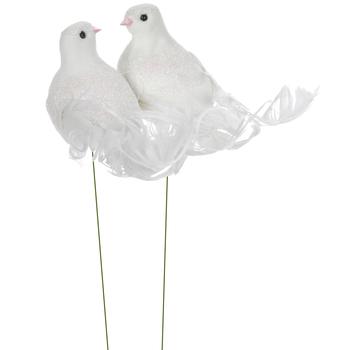 White Glitter Birds