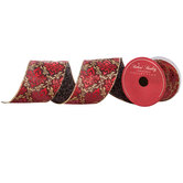 Red & Gold Patterned Wired Edge Ribbon - 3""