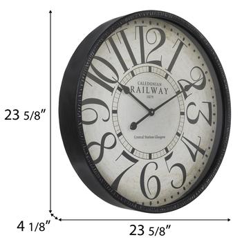 Distressed Black Metal Wall Clock
