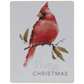 Merry Christmas Cardinal Wood Magnet