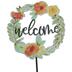 Welcome Wreath Metal Garden Pick