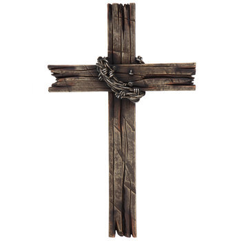 Brown Wood Grain & Faux Barb Wire Wall Cross