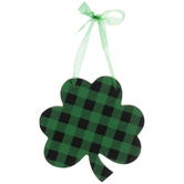 Green Leopard Print & Buffalo Check Wood Shamrock Ornament