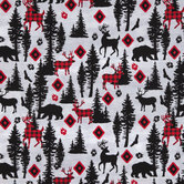 Red & Black Woodland Animals Cotton Calico Fabric