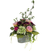 Mixed Purple Rose & Hydrangea Arrangement In Metal Container