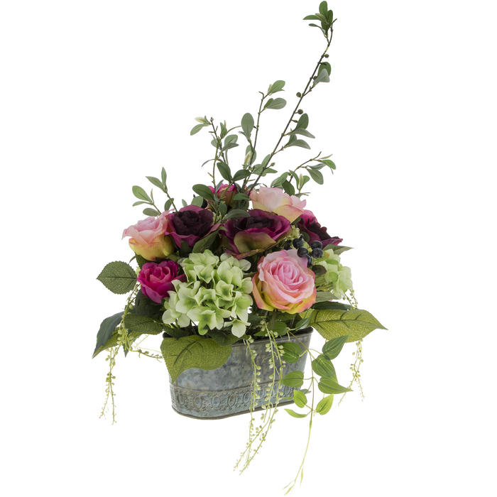 Mixed Purple Rose Hydrangea Arrangement In Metal Container Hobby Lobby 1220656