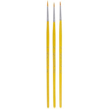 Gold Nylon Detail Paint Brushes - 3 Piece Set