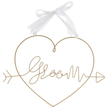 Gold Groom Heart Metal Chair Sign