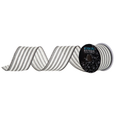 Black & White Ticking Striped Wired Edge Ribbon - 2 1/2""