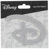Silver Glitter Disney Logo Iron-On Applique