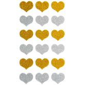 Silver & Gold Glitter Hearts Stickers