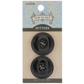 Black Round Buttons - 28mm