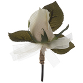 Ivory Fabric Rose Boutonniere