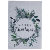 Merry Christmas Foliage Wreath Garden Flag