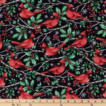 Cardinals & Holly Cotton Fabric