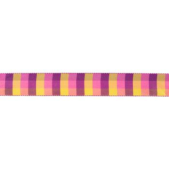"Pink, Purple & Yellow Plaid Wired Edge Ribbon - 1 1/2"""