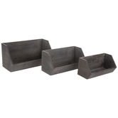 Gray Ridged Wood Wall Shelf Set
