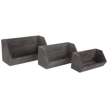 Gray Ridged Wood Wall Shelf Set