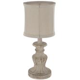 Distressed Cream Pedestal Lamp