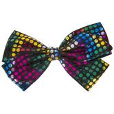 Black & Rainbow Polka Dot Bow Hair Clip
