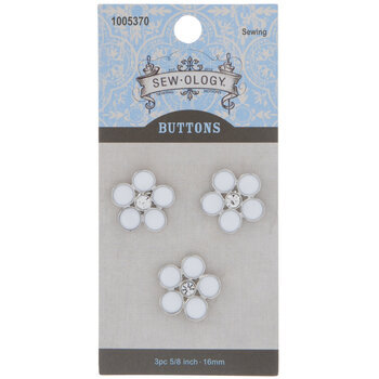 White & Silver Flower Shank Buttons - 16mm