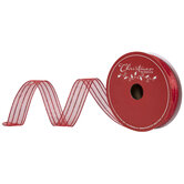 """Red Glitter Striped Wired Edge Sheer Ribbon - 1 1/2"""""""
