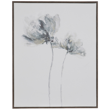 Gray Flowers Wood Wall Decor