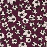 Maroon Soccer Balls Fleece Fabric