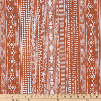 Boho Rust Striped Apparel Fabric