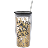 Coffee And Grace Glitter Cup With Straw