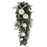 Frosted Pine, Berry & Ornament Teardrop