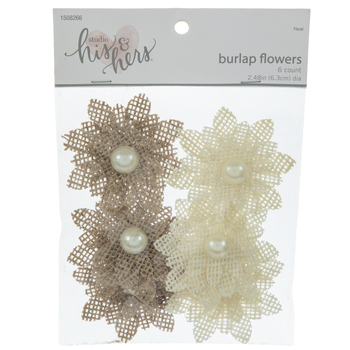 Layered Burlap Flowers With Pearls
