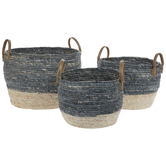 Blue & Natural Round Woven Basket Set