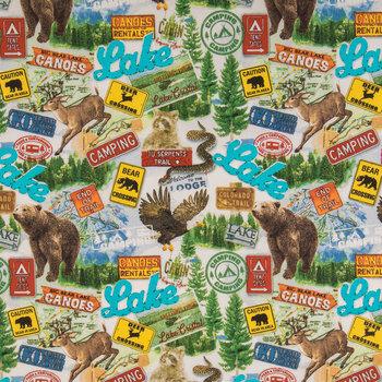 Bears & Canoes Cotton Calico Fabric