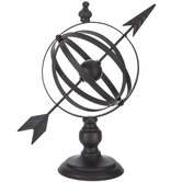 Rustic Metal Globe With Arrow