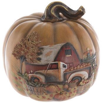 Orange Farm Scene Pumpkin