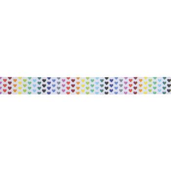 "Rainbow Hearts Grosgrain Ribbon - 5/8"""