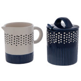 Navy & White Cream & Sugar Set