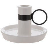 White Chamberstick Candle Holder
