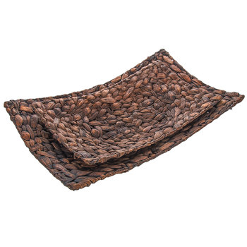 Brown Woven Rectangle Tray Set