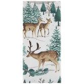 Deer In Snowy Woods Kitchen Towel