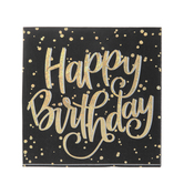 Holographic Gold Happy Birthday Napkins - Large