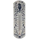 Beige & Blue Bird Metal Thermometer