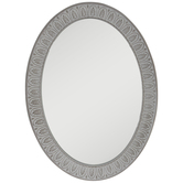 Ivory Carved Oval Wood Wall Mirror