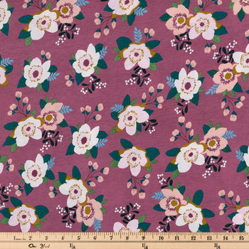 Mauve Floral Knit Fabric