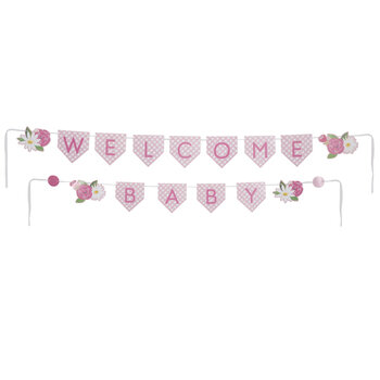 Pink Plaid & Flowers Welcome Baby Banner