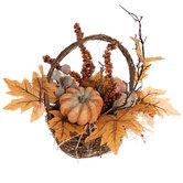Pumpkin & Gourd Arrangement In Twig Basket