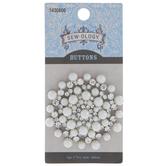 Pearl & Rhinestone Round Shank Button - 49mm